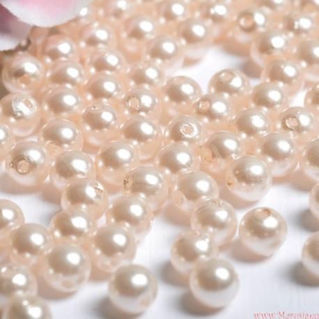 Perły perełki 6mm, 100 szt. Kremowe