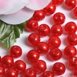Perły perełki 6mm, 100 szt. CZERWONE