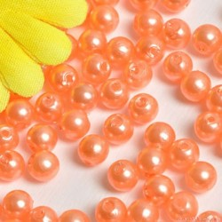 Perły perełki 6mm, 100 szt. POMARAŃCZOWE