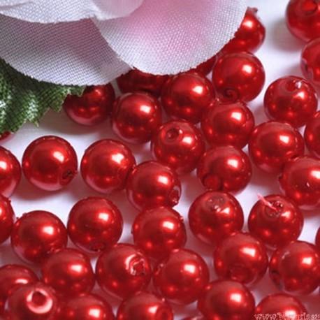 Perły perełki 6mm, 100 szt. Bordowe