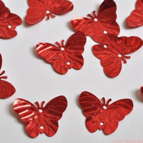 Cekiny motyle motylki czerwone 40 szt.