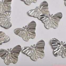 Cekiny motyle motylki srebrne 40 szt.