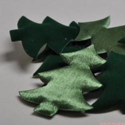 Boże Narodzenie - choinki satyna, welur - 3 szt..