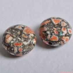 Sutasz Korale marmurowe 10-12mm dysk CZERWONY