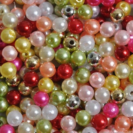 Perły perełki 6mm, 100 szt. mix2 kolorów