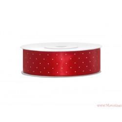 Wstążka w kropki 25mm czerwona