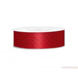 Wstążka w kropki 25mm czerwona czarne kropki