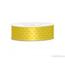 Wstążka w kropki 25mm zółta czarne kropki