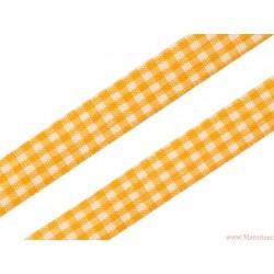 Wstążka w kratkę 12mm zółta