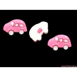 Guziki auta  różowe