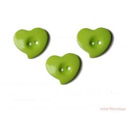 Guziki serca krzywe zielone