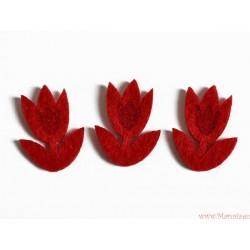 Tulipany filcowe samoprzylepne 3 szt. CZERWONEONE