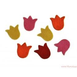 Tulipany filcowe - główki samoprzylepne 4 szt