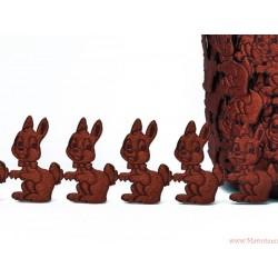 Aplikacje satynowe króliczki zajączki - 32 szt. zielone ciemne