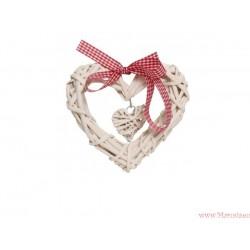 Serce wiklinowe ratanowe 15cm zawieszka białe