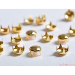 Ćwieki metalowe pukle 6mm złote