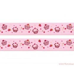 Wstążka rypsowa 9 mm smoczki różowe