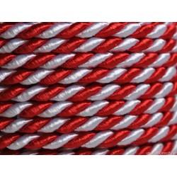 Sznurek skręcany 2mm 1m czerwony/biały