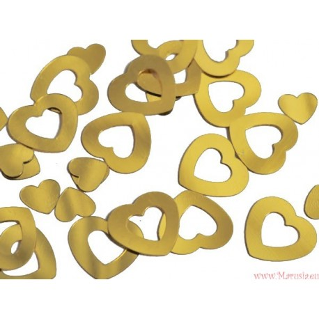 Serca złote metaliczne 50 szt