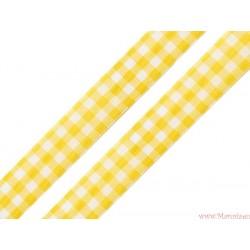 Wstążka w kratkę 25mm żółta
