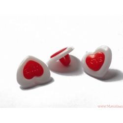 Guziczki serca serduszka 3szt. napis LOVE