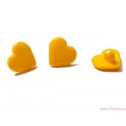 Guziki serca  żółte ciemne