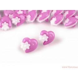 Guziki serca  z kwiatkami fioletowe