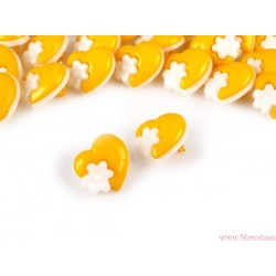 Guziki serca  z kwiatkami żółte