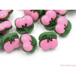 Guziczki guziki wiśnie wisienki różowe jasne