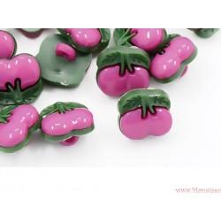 Guziczki guziki wiśnie różowe ciemne