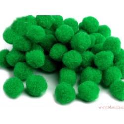Puchate pompony 13mm 20szt. zielone ciemne