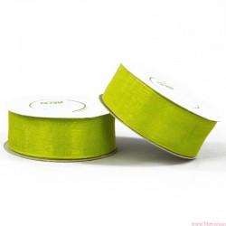 Wstążka szyfonowa 25mm rolka zielony 22m