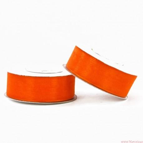 Wstążka szyfonowa 25mm rolka pomarańczowo czerwony 32m