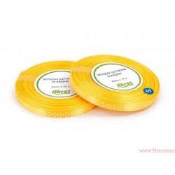 Tasiemka wstążka satynowa w kropki 6mm żółty