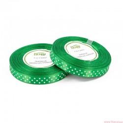 Wstążka satynowa w kropki 12mm 22m zielony