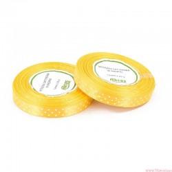 Wstążka satynowa w kropki 12mm 22m żółty