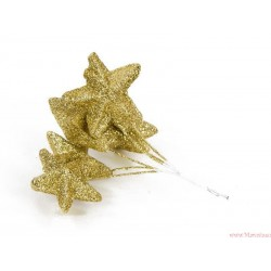 Gwiazdki brokatowe 4,5 cm złote na piku 6 szt.