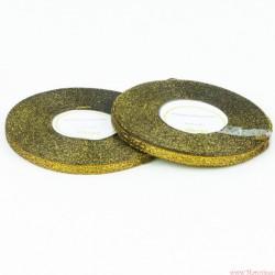 Tasiemka wstążka brokatowa 6mm 32m czarno złoty