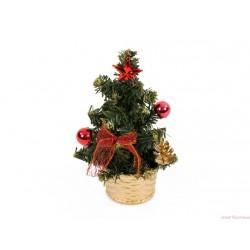 Choinka z dekoracją 20cm czerwona